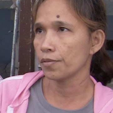 Rowena Esperes is still living in an evacuation center in Magellanes, Tacloban.