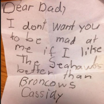 Image: A note to make sure the Super Bowl rivalry doesn't divide the family