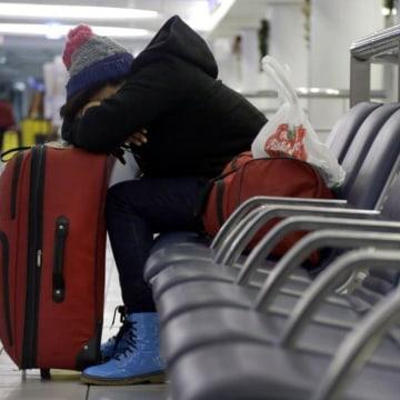 Passenger stuck at airport after snow.