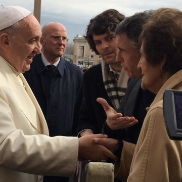 Pope Francis meeting Philomena Lee in St. Peter's Square on Wednesday.