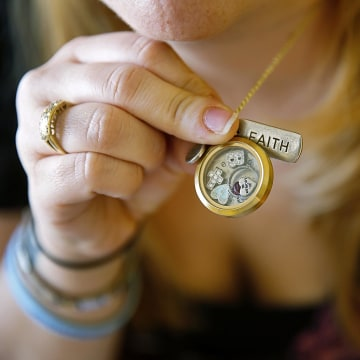 Image: Heather Surovik's necklace is a remembrance of Brady Paul
