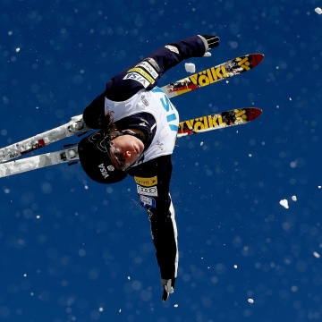 Image: Emily Cook jumps jumps while training in Utah