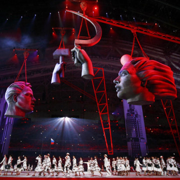 Image: Dancers perform during the opening ceremony of the 2014 Sochi Winter Olympic Games at Fisht stadium