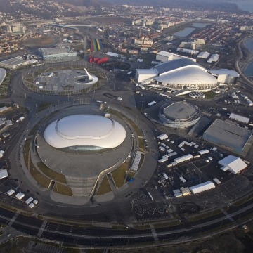 Image: An aerial view from a helicopter shows the Olympic Park under construction in the Adler district of the Black Sea resort city of Sochi