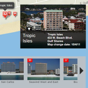 Image: A map shows condominium projects on the Gulf Coast.