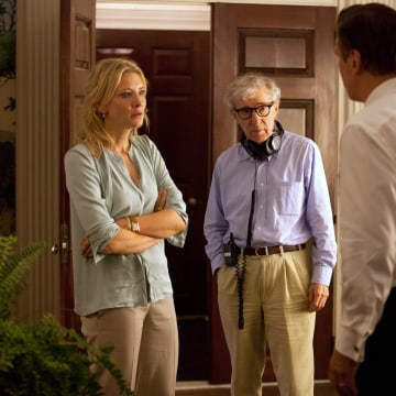 Image: Cate Blanchett, left, director Woody Allen, center, and Alec Baldwin on the set of