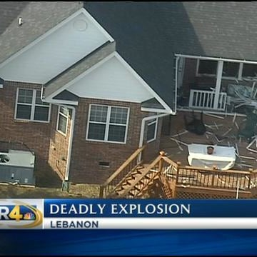 Image: Aerial view of an explosion at a home in Lebanon, Tenn.