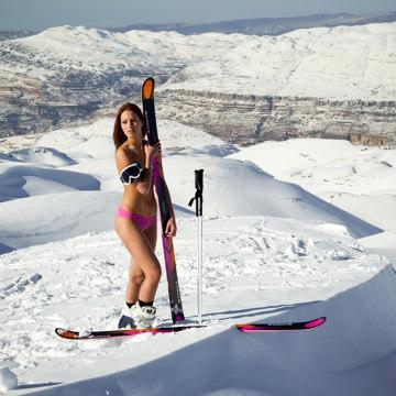 Sochi Olympian Jackie Chamoun posing for a photographer on the slopes of Lebanon's mountain resort of Faraya.