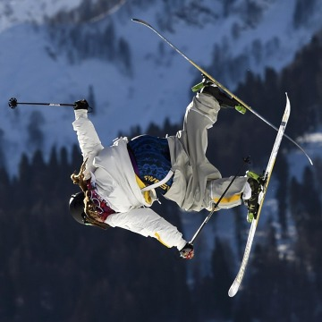Image: Sweden's Henrik Harlaut performs jump during men's freestyle skiing slopestyle qualification round at 2014 Sochi Winter Olympic Games in Rosa Khutor
