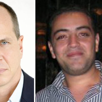 Image: Al Jazeera journalists (from left) Mohammed Fahmy, Peter Greste and Baher Mohamed have been detained by Egyptian authorities since their arrest at a Cairo hotel on December 29, 2013.