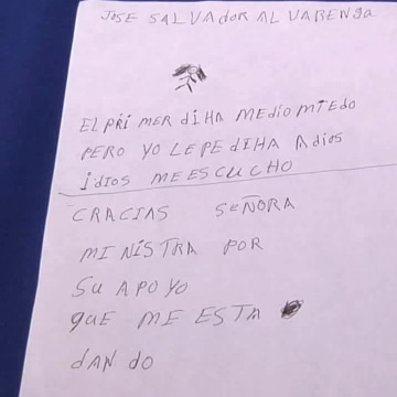 Image: Alvarenga's handwritten note
