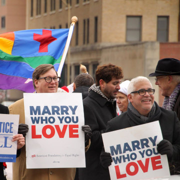 Image: People demonstrate for same-sex marriage outside a federal courthouse in Norfolk, Va.