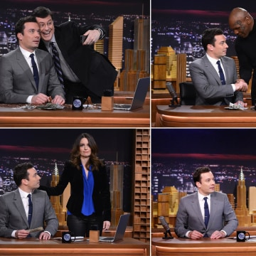 """Image: Stephen Colbert, Mike Tyson, Robert De Niro and Tina Fey were among the guests on """"The Tonight Show Starring Jimmy Fallon"""""""