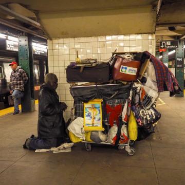 Image: Homeless take shelter in Penn Station, New York