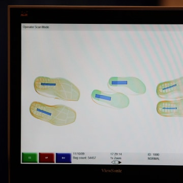 Image: Manchester Airport security staff scan shoes in 2009.