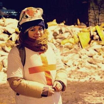 Image: Olesya Zhukovska, 21, was struck by a bullet in Kiev on Thursday