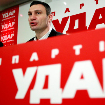 Image: Ukrainian opposition leader and head of the UDAR party Klitschko speaks during a news conference in Kiev