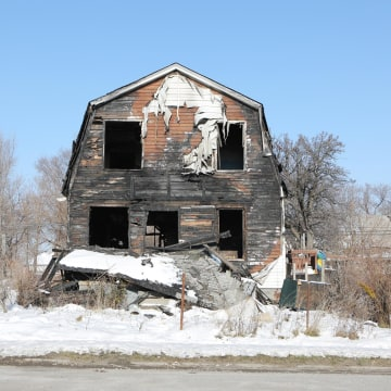 Image: A vacant burnt home in Detroit