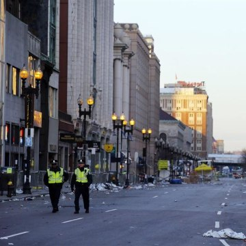 IMAGE: Police patrol Boston Marathon bombing scene