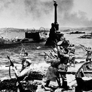 Soviet soldiers in Sevastopol celebrate their victory