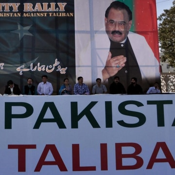 Image: Anti-Taliban protest in Karachi, Pakistan, on Feb. 23