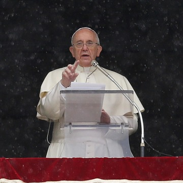 Image: Pope Francis leads his Sunday Angelus prayer in Saint Peter's square at the Vatican