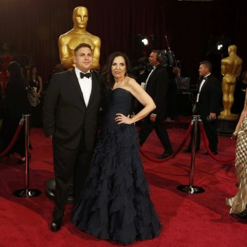 """Image: Best supporting actor nomineee Jonah Hill of the film """"The Wolf of Wall Street"""" arrives with his mother Sharon Lyn Chalkin at the 86th Academy Awards in Hollywood"""