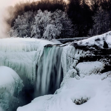 Image: A partially frozen Niagara Falls is seen on the American side during sub freezing temperatures in Niagara Falls