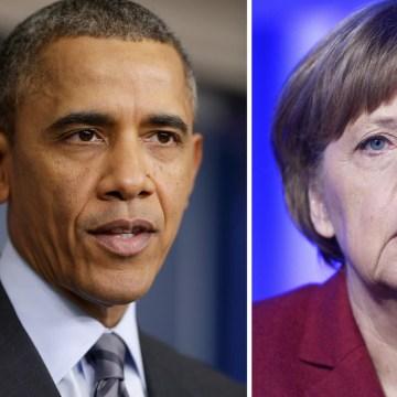 Image: John Kerry, Barack Obama and Angela Merkel.
