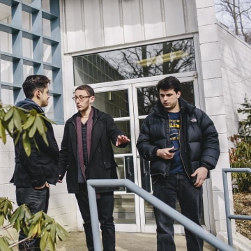 Image: Max Novick helps his actors, Lucca Deoliveria (left) and Zack Zaromatidis (right) find their voices while shooting a scene in his upcoming film