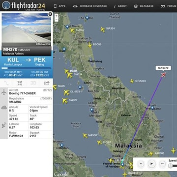 Image: Screengrab from flightradar24.com showing the last reported position of Malaysian Airlines flight MH370,