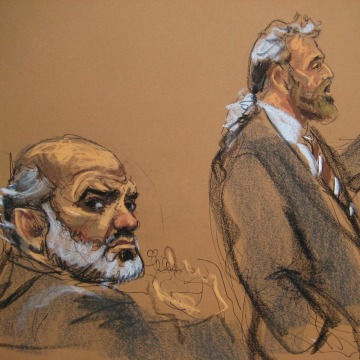 Image: Abu Ghaith, a son-in-law of Osama bin Laden, sits during his trial as defense attorney Cohen gives opening arguments in Manhattan Federal Court in New York.