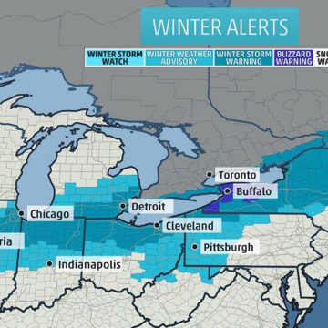 Winter weather warnings across the Midwest and Northeast.