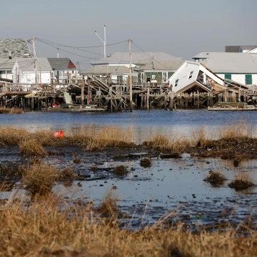 Image: Homes and docks damaged by Superstorm Sandy