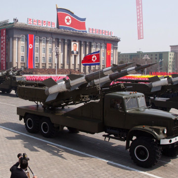 Image: SA-3 ground-to-air missiles are displayed during a military parade