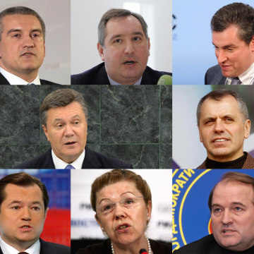 Image: Former Ukrainian President Viktor Yanukovych is among 11 individuals who are being sanctioned by the U.S. in response to Crimea's referendum. Also sanctioned, clockwise from top left: Andrei Klishas,  Sergey Aksyonov, Dmitry Rogozin, Leonid Slutsky