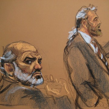 Image: Abu Ghaith, a son-in-law of Osama bin Laden, is shown in this courtroom sketch, sitting during his trial as defense attorney Cohen gives opening arguments in Manhattan Federal Court in New York
