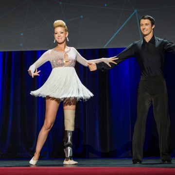 Image: Boston Marathon bombing survivor Adrianne Haslet-Davis and Christian Lightner dance at the international TED 2014 conference at the  Vancouver Convention Center