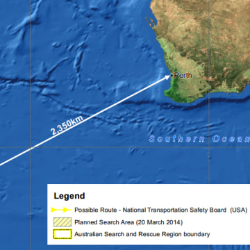Image: A map of the cumulative search efforts by the Australian Maritime Safety Authority released on March 20, 2014.