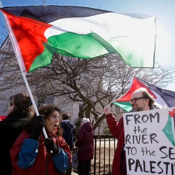 Image:Protestors march along Huntington Avenue at Northeastern University in support of Palestinians.