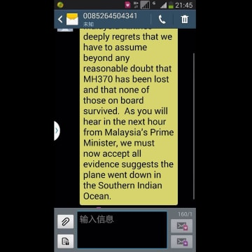 China families receive text message from Malaysia Airlines