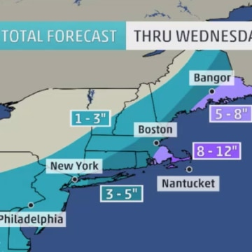 IMAGE: Map of projected snowfall totals Tuesday and Wednesday