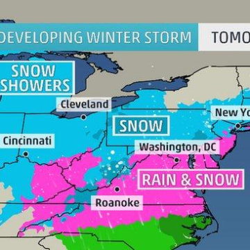 IMAGE: Map of projected weather conditions Tuesday