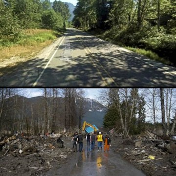 IMAGE: Before and after comparison of area devatastated by mudslide