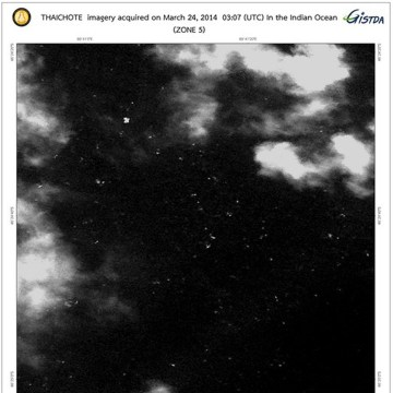 Objects spotted by the Thaichote - Thailand Earth Observation Satellite  close to the spot where investigators believe Malaysia Airlines Flight MH370 crashed.