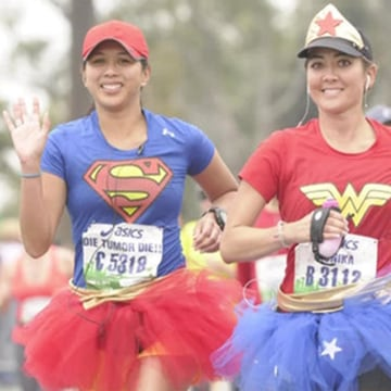 Image: Monika Allen of San Diego runs the Los Angeles marathon dressed as Wonder Woman and in a tutu