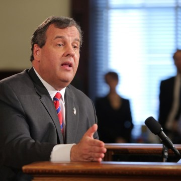 Image: New Jersey Governor Chris Christie talks to reporters in the New Jersey State House in Trenton, N.J.