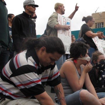 Image:Protesters staging a sit-in during the demonstrations in Albuquerque, N.M.