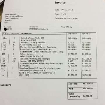Image: An invoice for guns ordered by Oscar Pistorius