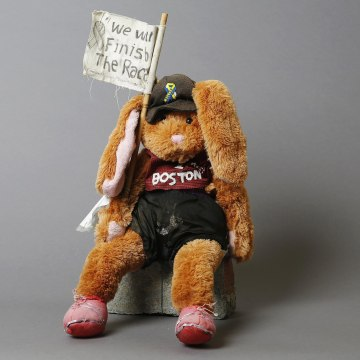 Image: A soft toy, an artifact saved from the makeshift Boston Marathon bombing memorial
